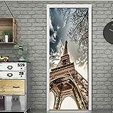 adesivo porta 3d paris tour porte autocollant bricolage home decor stickers autocollant papier peint Étanche porte mural chambre porte rénovation 100x200cm
