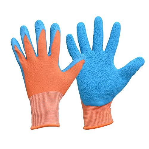 Guantes de jardinería infantil para trabajos de jardinería y jardinería y restauración. Guantes de trabajo con revestimiento de látex de alta visibilidad., Size 5, naranja/azul, 3