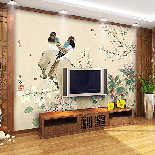 Einfache moderne Blume und Vogel 3D Vlies Tapete Wohnzimmer TV Hintergrund Tapete Video Wand Wandverkleidung Benutzerdefinierte Wandbild 350cm × 245cm