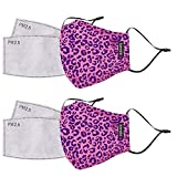 kensie Women's 2 Piece Face Mask Set, Pink Leopard, Standard