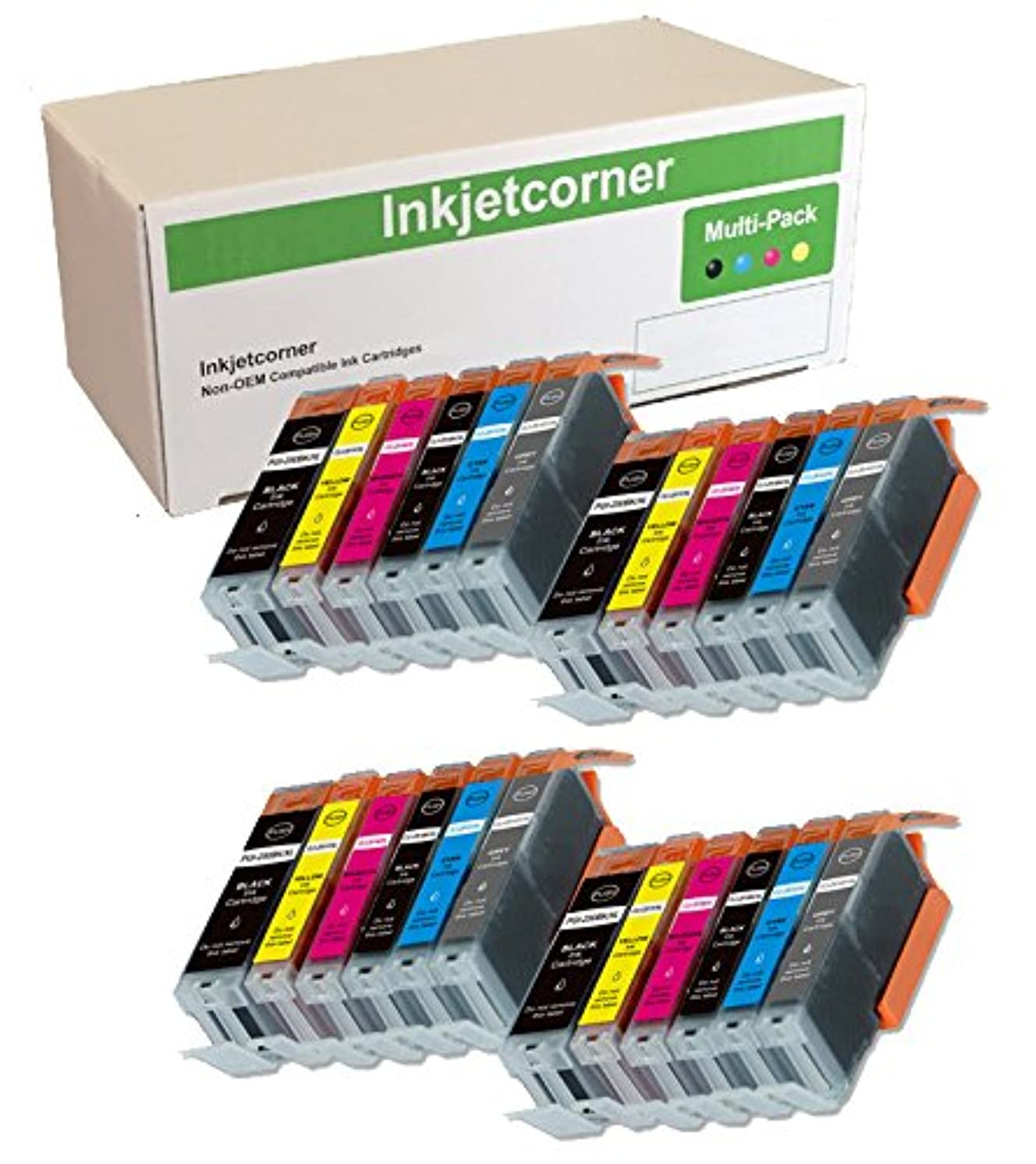 Inkjetcorner Compatible Ink Cartridges Replacement for PGI-250XL CLI-251XL PGI 250 CLI 251 for use with MG7520 MG7120 iP8720 MG6320 (4 Big Black 4 Black 4 Cyan 4 Magenta 4 Yellow 4 Gray, 24-Pack)