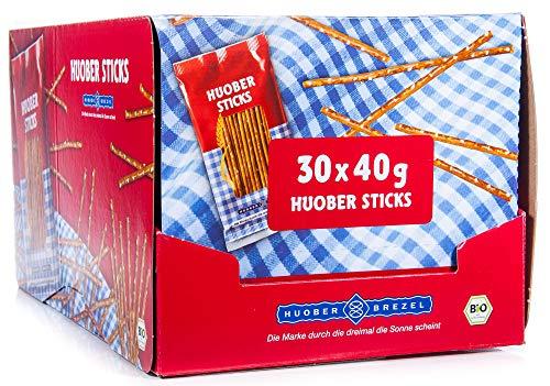 HUOBER bio Mini Sticks, Thekendisplay mit 30 x 40g Beutelchen