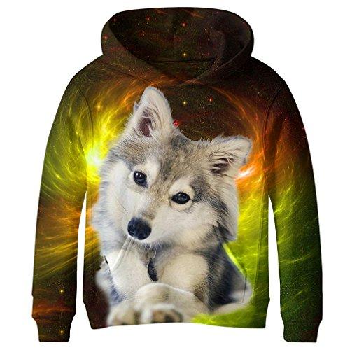 SAYM Teen Boys' Galaxy Fleece Sweatshirts Pocket Pullover Hoodies 4-16Y NO43 L