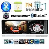 Boomboost Autoradio 1 Din Auto Audio Stéréo Autoradio Bluetooth USB AUX Radio FM Prise en Charge de la caméra de recul et du Volant Télécommande