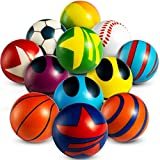 50 Mini Stress Balls Assortment - Bulk 2 Inch Soft Toy Variety Pack Stress Relief Balls, Squeezable Sensory Fidget Balls for Kids, Party Favors, Birthday Gifts for Boys & Girls