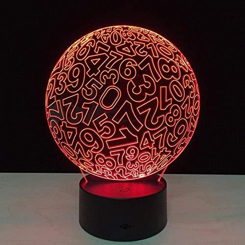 Luz nocturna 3D, lámpara de noche con ilusión óptica, forma de bola digital, 7 colores con control remoto, decoración, luz nocturna visual LED para niños, regalos de cumpleaños (1 paneles acrílic