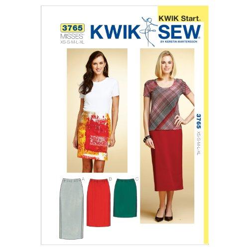 Kwik Sew Pattern K3765 maat XS – klein – medium – groot – extra grote rok, wit, 1 stuk