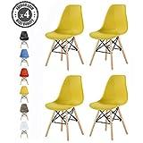 Lot de 4 chaises au Design Moderne de Style scandinave, Lia par MCC (Jaune)