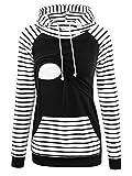 Love2Mi Damen Umstandspullover Stillen Hoodie Langarm Umstandsmode Jacke,Schwarz/Weißer Streifen, XL