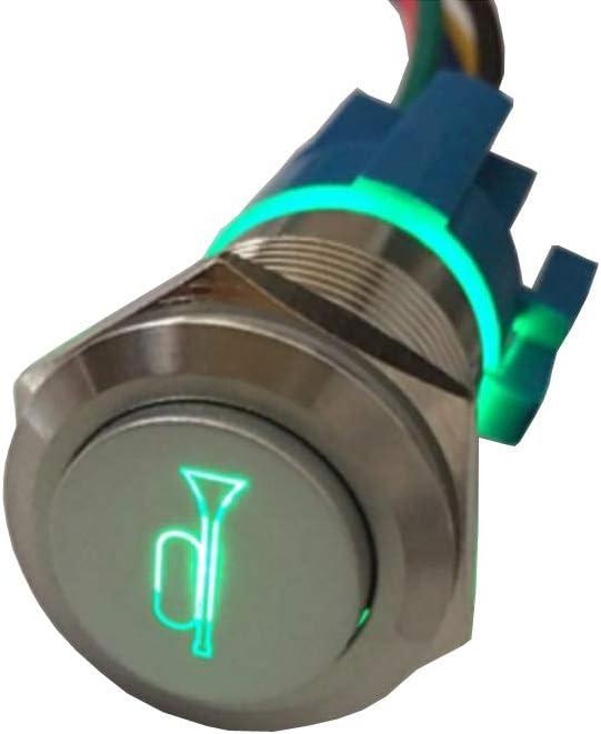 Etopars 12V 5A Car Motor Green Speaker LED famous Light Momentary Horn Dallas Mall