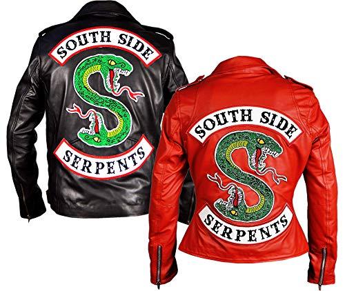 Emporrio ARMANI Riverdale Southside Serpents Biker Gang Lederjacke für Damen Gr. Large, Schwarz