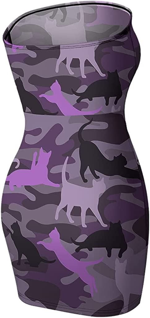 Camouflage Cat Purple Women's Tube Top Dress Strapless Printed Club Dress Sexy Cute