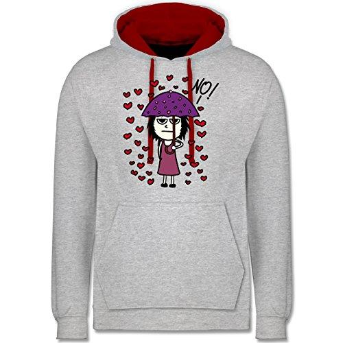 Shirtracer Comic Shirts - Love? No! - XS - Grau meliert/Rot JH003 - Hoodie zweifarbig und Kapuzenpullover für Herren und Damen