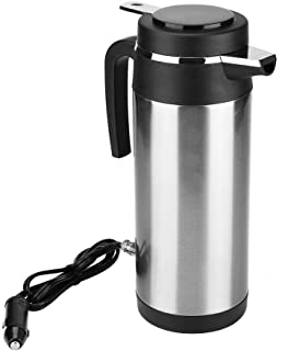 Electric Kettle 1200ML 12V/24V Stainless Steel Electric In-car Kettle Travel Thermoses Heating Water Bottle for Car Household Caravan(12V)