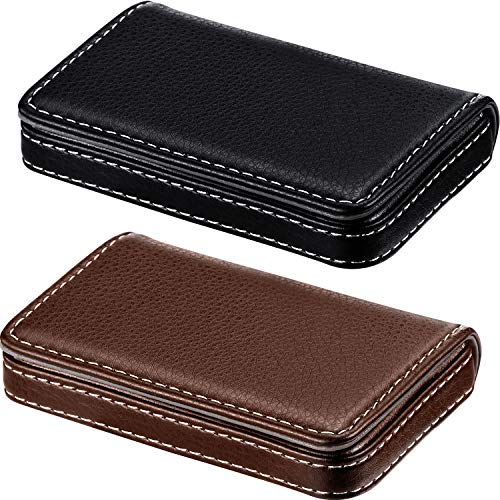 2 Pieces Business Card Holder, Business Card Wallet PU Leather Business Card Case Pocket Business Name Card Holder with Magnetic Shut, Credit Card ID Case/Wallet (Black and Coffee)