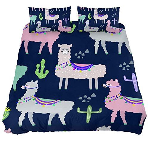 XJJ&USC Llama Cactus Microfiber Fitted Sheet, 3 Piece(1 Fitted Sheet and 2 Pillowcase), Printed Pattern, Queen Size
