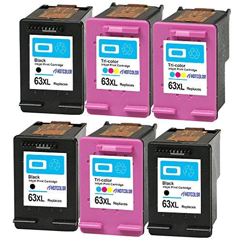 HOTCOLOR 6Pack (3BK/3C) Remanufactured Ink Cartridge for 63XL 63XL High Yield for DeskJet 1110 1112 2130 3630 3632 Envy 4520 Officejet 3830 4650 Printer