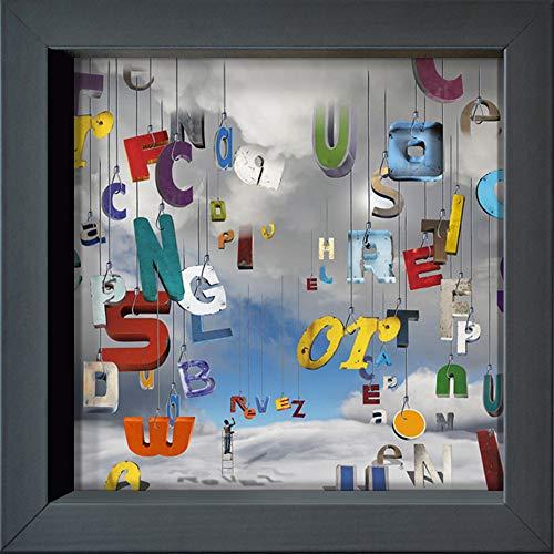 International Graphics - Cartolina incorniciata'The Lettres Pour le Dire : rêvez !' - 16 x 16 cm – Cornice color antracite.