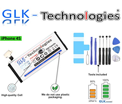 High Power Ersatzakku für Apple iPhone 4S | Original GLK-Technologies Battery | accu | 1460 mAh Akku | inkl. Werkzeug Set Kit 2020 B.j