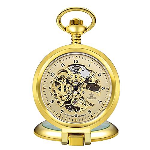 XIXIDIAN Reloj de Bolsillo, Reloj de Bolsillo Grande, Manual, Mecánico, Piso Tallado vacío (Color : Silver)