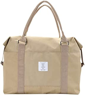 Travel Tote Duffel Bag, Canvas Beach Bag Zipper Closure Carry-on Weekender Bag with Trolley Sleeve for Women Men Vacation (Khaki)