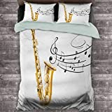 Música - Funda de edredón (tamaño extragrande, diseño de saxofón viejo con plantilla de solo Vibes, se puede utilizar como una funda de edredón liviana, color amarillo, negro y blanco