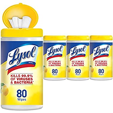 Lysol - Disinfecting Wipes - 4x80ct - Lemon & Lime Blossom - Disinfectant - Cleaning - Sanitizing