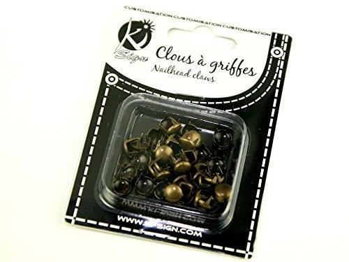 Rond 7 mm en métal Claws-Nailhead/Lot de 50 clous (mode)-Laiton Antique