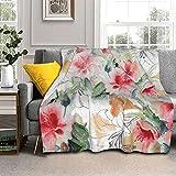 Coperta calda e spessa con giglio ad acquerello, coperta per aria condizionata, morbida coperta per letto, divano e sedia