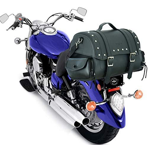 RXL Alforja de Cuero para Motocicleta, Bolsa de sillín para Maletero de Motocicleta Caja de Almacenamiento Enorme con Bolsillos Laterales Organizador de Maletero de Equipo Impermeable