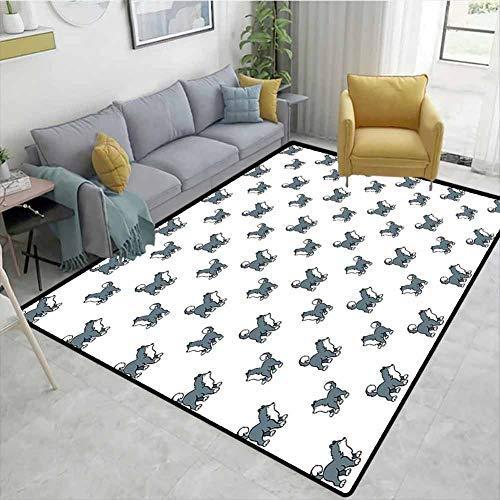 Find Bargain Bigdatastore Dog Floral Area Rug Mat Pad, Husky Puppy Siberian Energetic Pet Alaskan Or...
