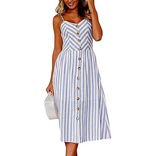Vestido ZODOF Vestido Camisa CasualBotones de Rayas de Sexy Fuera del Vestido sin Mangas de Hombro Vestido de Princesa Cuello Redondo VendajeOficina Fiesta Vendaje de Vestir para Mujer 3XL Azul6
