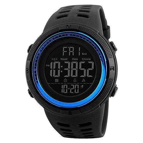 Los hombres de cuarzo reloj de pulsera con alarma Cronómetro Digital Reloj Deportivo Dual tiempo zona cuenta atrás el luz de fondo Calendario Fecha relojes