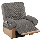 Collections Etc Diamond Quilted Stretch Recliner Cover with Storage Slate Gray Recliner