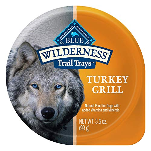 Blue Buffalo Wilderness Trail Trays High Protein, Natural Adult Wet Dog Food Cups, Turkey Grill 3.5-oz (Pack of 12)