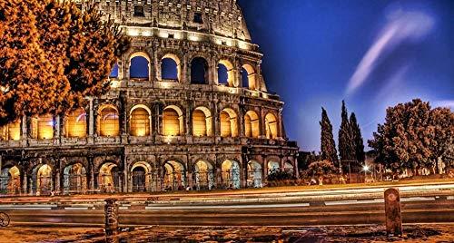 Rompecabezas 1000 piezas de rompecabezas de madera Rompecabezas para adultos Coliseo romano Calle romana Juego de diversión Noche Niños Excelente regalo educativo
