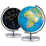 Khosd Globo Esfera Iluminada, Globo Terráqueo Iluminado 23cm con Iluminación LED Día Y Noche - Mapa De Ingles - Mapa Político/Estrellas De Constelación