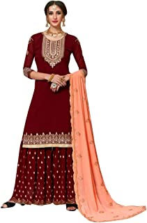 Deep Red Muslim Ethnic Traditional Wedding Party wear Georgette Sharara Suit Indian Women dress 8445
