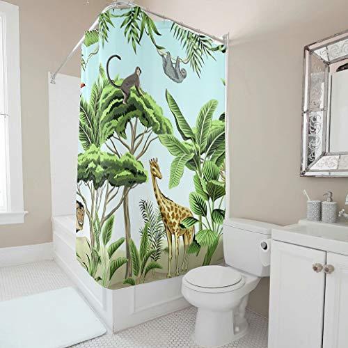 Cortina de ducha con diseño de animales de la selva tropical, juego de cortinas de baño lavables con anillas, para decoración de baño, color blanco, 200 x 180 cm