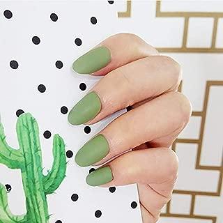 MISUD Oval Matte Fake Nails Summer Style Full Cover Medium False Nails Press-on Art Nail Tips(Avocado Green Series)