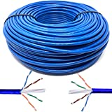Mr. Tronic 50m Cable de Instalación Red Ethernet Bobina | CAT6, AWG24, CCA, UTP (50 Metros, Azul)