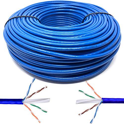 Mr. Tronic 50m Cavo di Rete Ethernet | CAT6, AWG24, CCA, UTP, RJ45 | Bobina di Rete (50 Metri, Blu)
