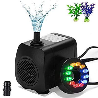 JORITY Water Pump Submersible 12Leds Small Fountain Pumps(800L/H 15W) 220GPH Aquarium Pump For Pond Fish Tank,Aquarium,Hydroponics