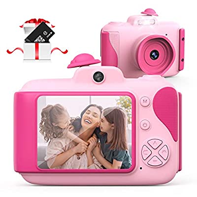 Hamdol Kids Camera for Girls, Birthday Gifts Toys for 3 4 5 6 7 8 9 10 Year Old Boys, Toddler, Digital Video Cameras for Children with 32GB TF Card, Pink