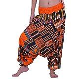 Lofbaz Harem Pantalones de Yoga para Mujer, Parches, Boho, Hippie, Bohemio, Aladdin, Unisex - Naranja - Más Talla