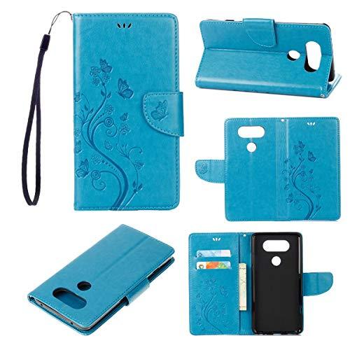 JEEXIA® Schutzhülle Für LG V20, Retro PU Lederhülle Flip Cover Brieftasche Innenschlitzen Mit Stand Schmetterling Gras Muster - Blau