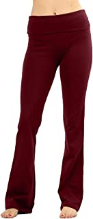Stretchy Fold Over Lounge Solid Flare Yoga Pants