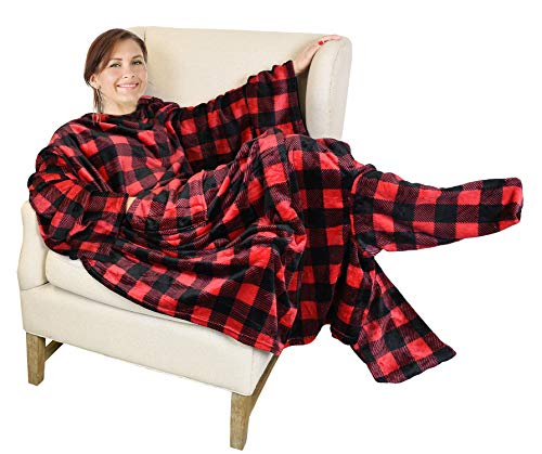 Catalonia Wearable Fleece Blanket with Sleeves and Foot Pockets for Adult Women Men,Micro Plush Comfy Wrap Sleeved Throw Blanket Robe Large,Red Checker Plaid