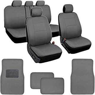 BDK Simply Covered – Car Seat Covers Protectors Full Set Interior w/Secure-Grip Carpet Floor Mats for Car Auto (Gray)