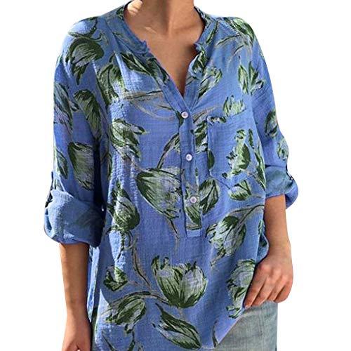 Damen Sommer T-Shirt Freizeit O Ausschnitt Lange Ärmel Frauen Sexy Vintage Blumendruck Bedruckt Stretch Jahrgang Weste Schlankes Yoga Tee Hemden Große Lose Bluse Tops (EU:40, Blau)